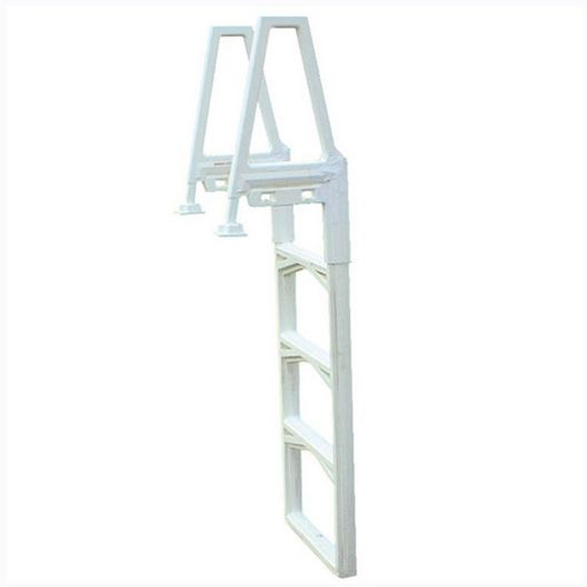 6000X Adjustable Heavy Duty Above Ground Pool Ladder for Decks, Warm Grey