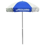 6' Lifeguard Logo Umbrella Red and White