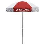 California Umbrella - 6' Lifeguard Logo Umbrella Blue and White - 404551
