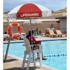 California Umbrella  6 Lifeguard Logo Umbrella Red and White