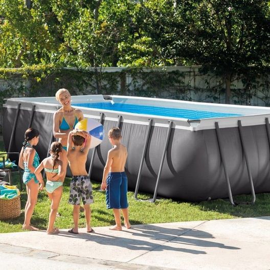 Intex - 9' x 18' Rectangle Metal Frame Above Ground Pool Package - 404863