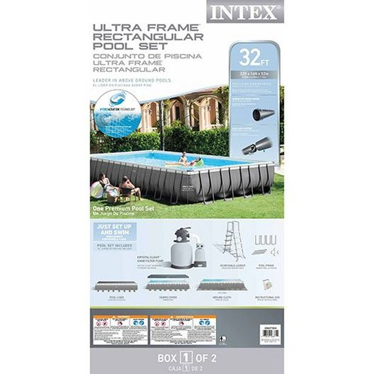 Intex - Ultra Frame 16' x 32' Rectangle Metal Frame Above Ground Pool Package - 404865