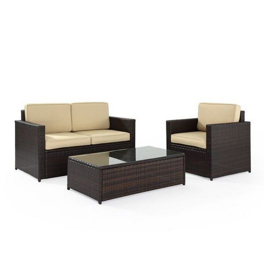 Crosley - Palm Harbor 3-Piece Wicker Sand cushion Set with One Love Seat, One Armchair, and One Coffee Table - 452249