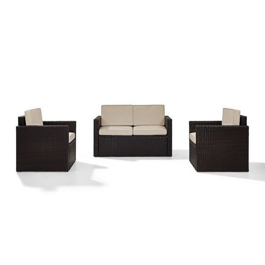 Crosley - Palm Harbor 3-Piece Sand Cushion Wicker Set with One Love Seat and Two Arm Chairs - 452248