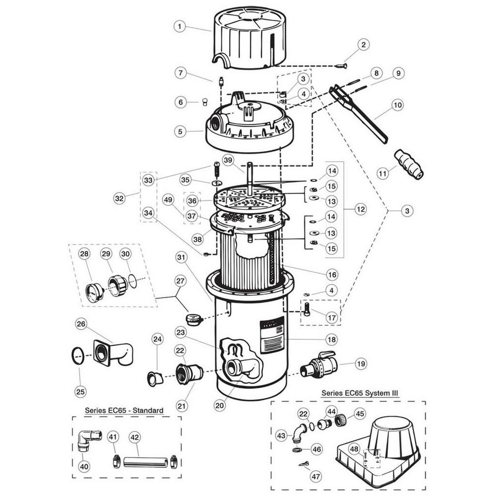 Perflex EC65, EC65A, EC75, EC75A D.E. Filter Parts image