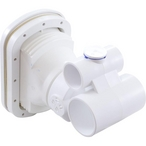 Complete Jet, Hydro-Air Vertassage w/ backing plate, 1-1/2 inch S water x 1 inch S air, Hole size 5-1/4 inchW x 7 inchH, White