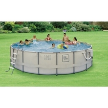 "Splash - 18' Round Above Ground Pool with Metal Frame, 52"" Depth"