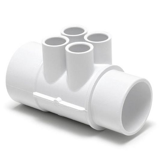 Waterway - Manifold 2in. SPG x 2in. S x (4)1/2in. Ports, White - 446814
