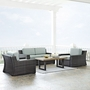 Beaufort 4-Piece Wicker Set. Love Seat, Two Chairs and Coffee Table