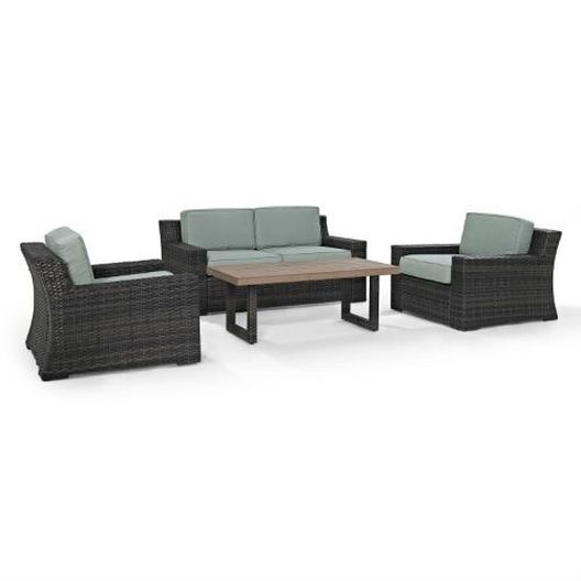 Crosley - Beaufort 4-Piece Wicker Set. Love Seat, Two Chairs and Coffee Table - 452062