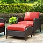 Kiawah 2-Piece Wicker Conversation Set with Arm Chair, Ottoman and Sangria Cushions