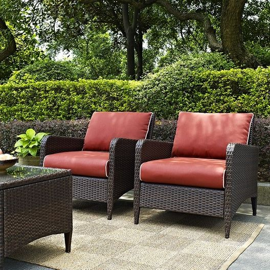 Crosley - Kiawah 2-Piece Wicker Conversation Set with Two Arm Chairs and Sangria Cushions - 452222
