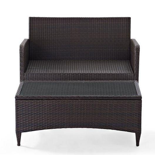 Crosley - Kiawah 2-Piece Wicker Conversation Set with Sangria Cushions - 452223