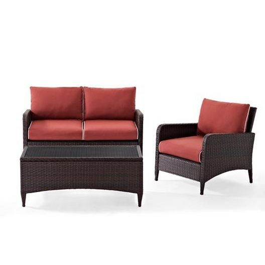 Crosley - Kiawah 3-Piece Wicker Conversation Set with Loveseat, Arm Chair and Ottoman - 452224