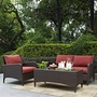 Kiawah 3-Piece Wicker Conversation Set with Loveseat, Arm Chair and Ottoman
