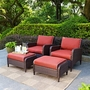 Kiawah 4-Piece Wicker Set with Two Arm Chairs, Two Ottomans and Sangria Cushions