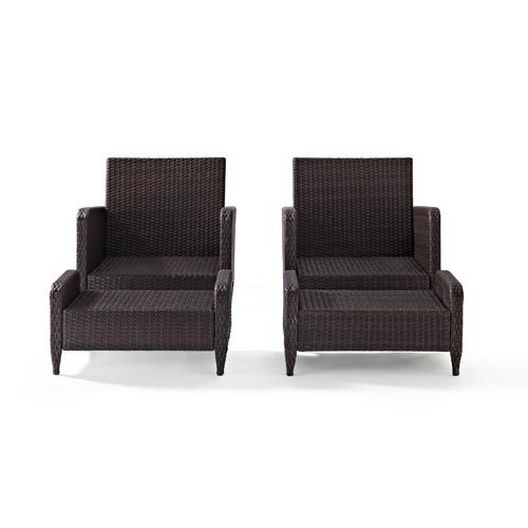Crosley - Kiawah 4-Piece Wicker Set with Two Arm Chairs, Two Ottomans and Sangria Cushions - 452225