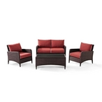 Kiawah 4-Piece Wicker Conversation Set with Sangria Cushions