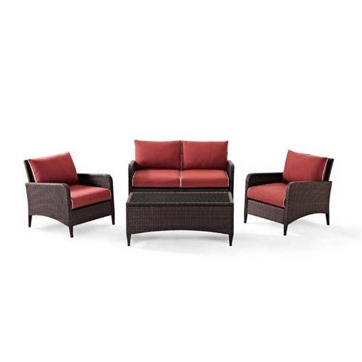 Crosley  Kiawah 4-Piece Wicker Conversation Set with Sangria Cushions