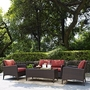 Kiawah 4-Piece Wicker Conversation Set with Sangria Cushions