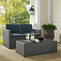 Palm Harbor 2-Piece Wicker Navy Cushion Loveseat and Glass Top Table
