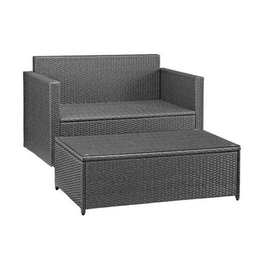 Crosley - Palm Harbor 2-Piece Wicker Navy Cushion Loveseat and Glass Top Table - 452232