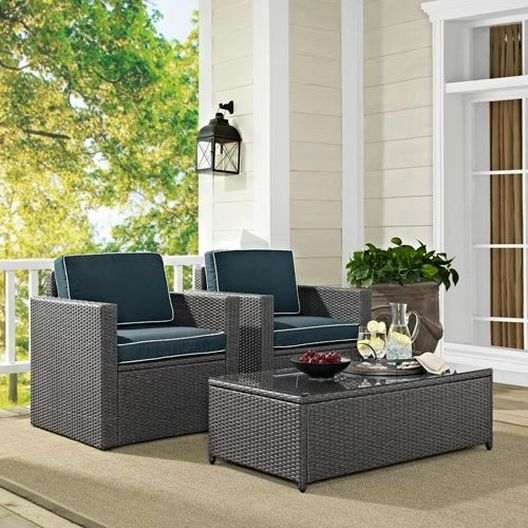 Crosley - Palm Harbor 3-Piece Wicker Set with Two Arm Chairs and Glass Top Table - 452243