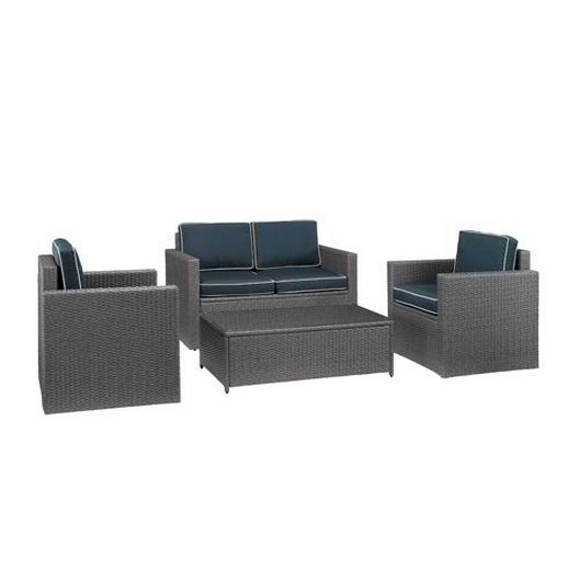 Crosley - Palm Harbor 4-Piece Navy Cushion Wicker Set with One Loveseat, Two Armchairs and Coffee Table - 452255