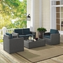 Palm Harbor 4-Piece Navy Cushion Wicker Set with One Loveseat, Two Armchairs and Coffee Table