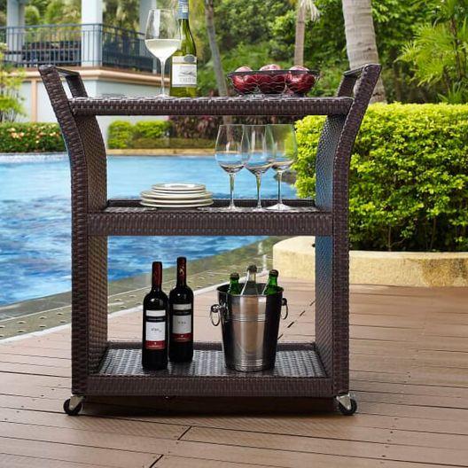 Palm Harbor Wicker Bar Cart - MASTER-prod1640026
