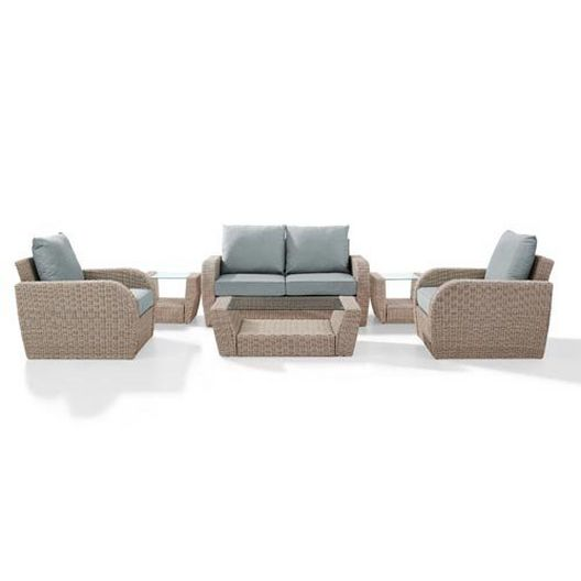 Crosley - St. Augustine 6-Piece Wicker Set and Mist Cushions with Loveseat, Two Armchairs, Two Side Tables and Coffee Table - 452367