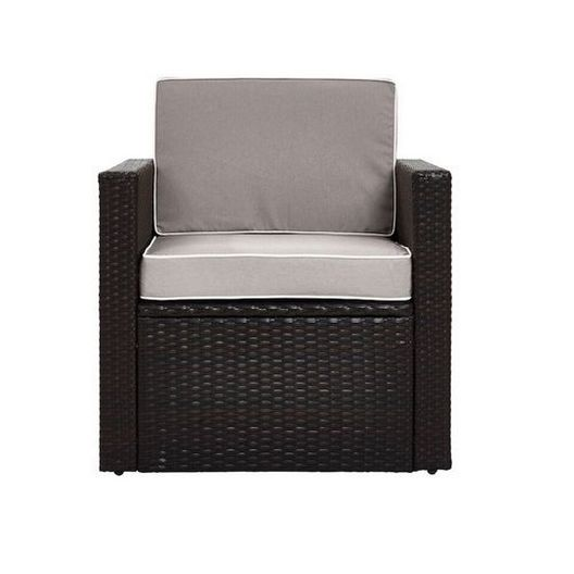 Crosley - Palm Harbor Wicker Arm Chair with Gray Cushions - 452280