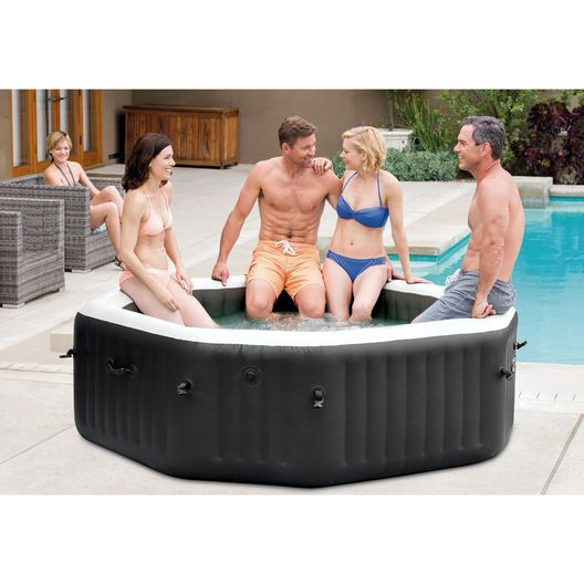 """79"""" X 28"""" PureSpa Jet and Bubble Deluxe Inflatable Spa Set, 4-Person"""