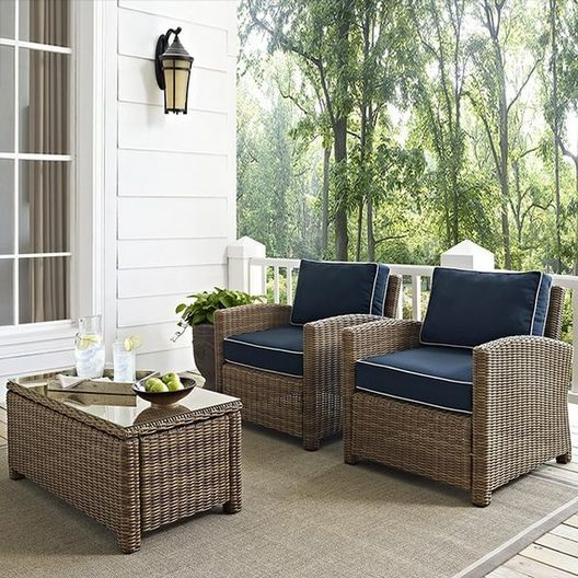 Crosley - Bradenton 2-Piece Wicker Conversation Set with Two Arm Chairs and Sand Cushions - 452151