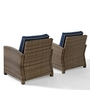 Bradenton 2-Piece Wicker Conversation Set with Two Arm Chairs and Sand Cushions