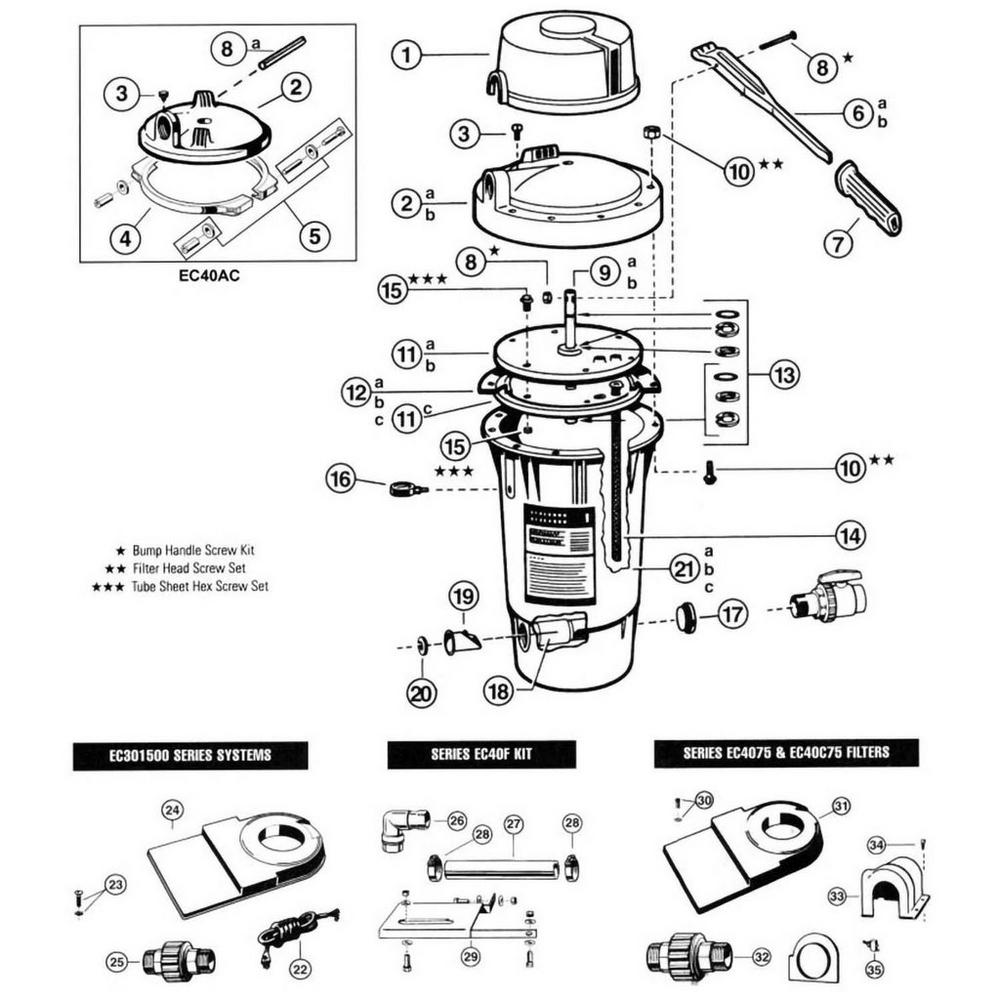 Perflex EC30, EC40, EC40AC D.E. Filter Parts image
