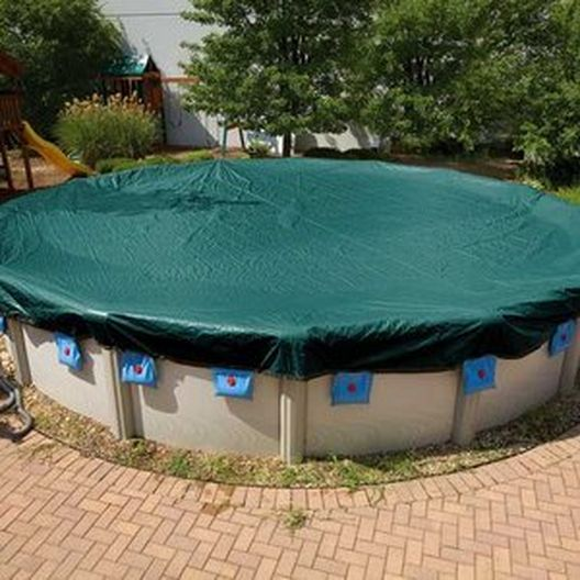 Midwest Canvas Corp. - Deluxe 18 ft Round Above Ground Winter Cover, 12-Year Warranty - 501403