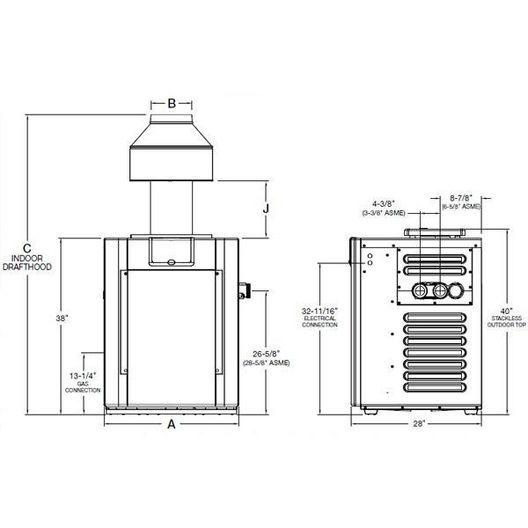 Raypak - Millivolt Cast Iron ASME Natural Gas 266,000 BTU Pool Heater - 51806