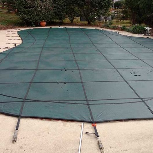 Leslie's - Pro SunBlocker Mesh 15' x 30' Rectangle Safety Cover, Green - 526102