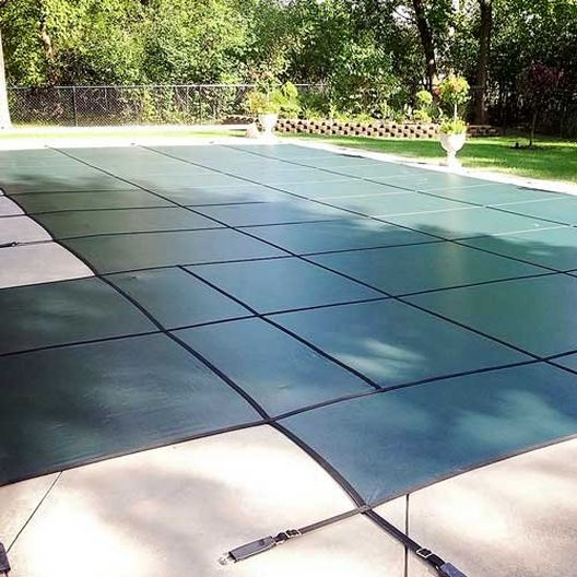 Leslie's - Pro SunBlocker Mesh 16' x 32' Rectangle Safety Cover with 4' x 8' Center End Step, Green - 526122
