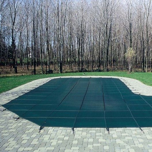 Pro SunBlocker Mesh 30' x 50' Rectangle Safety Cover, Blue (32' x 52' actual cover size)