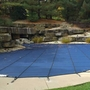 Pro SunBlocker Mesh 16' x 32' Rectangle Safety Cover with 4' x 8' Center End Step, Blue