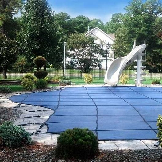 Pro SunBlocker Mesh 18' x 36' Rectangle Safety Cover with 4' x 8' Center End Step, Blue