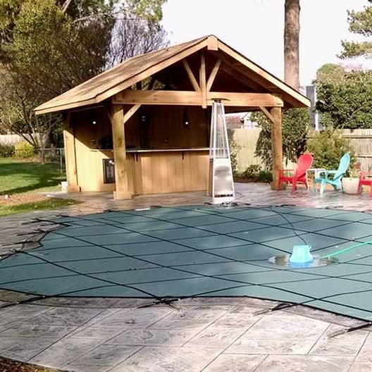 Pro Supreme Solid 30' x 60' Rectangle Safety Cover with Kleen Screen Drain, Green