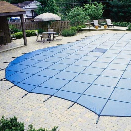 Pro Solid 20' x 40' Rectangle Safety Cover with 4' x 8' Center End Step, Blue