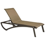 Chaise Lounge Cognac Sling on Fusion Bronze Frame