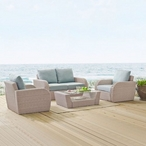 St. Augustine 4-Piece Wicker Set and Oatmeal Cushions with Loveseat, Two Armchairs and Coffee Table