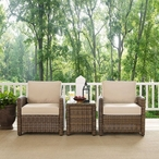 Bradenton 3-Piece Wicker Conversation Set with Two Arm Chairs and a Side Table