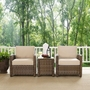Bradenton 3-Piece Wicker Conversation Set with Two Sangria Cushion Arm Chairs and a Side Table