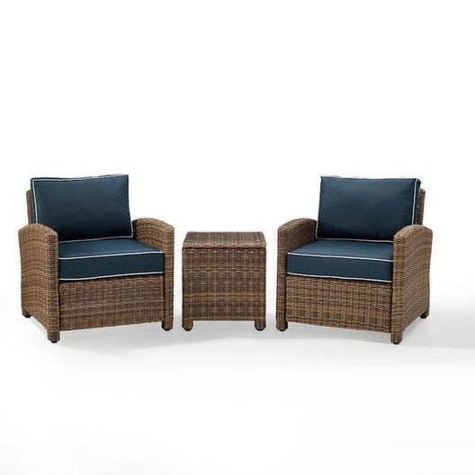 Crosley  Bradenton 3-Piece Wicker Conversation Set with Two Sangria Cushion Arm Chairs and a Side Table